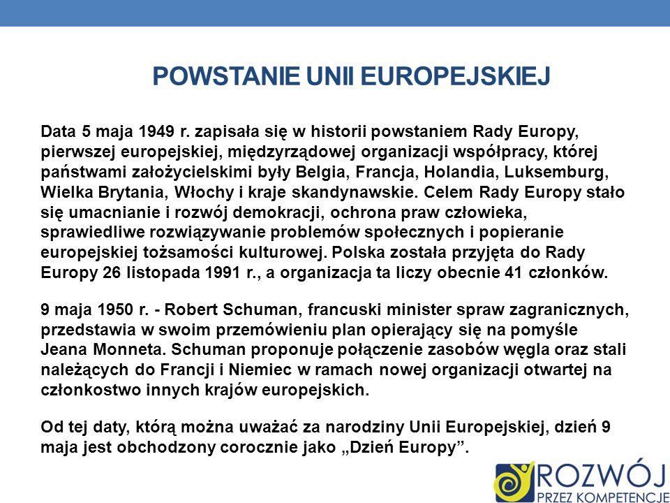 POWSTANIE UNII EUROPEJSKIEJ Data 5 maja 1949 r. zapisała się w historii powstaniem Rady Europy, pierwszej europejskiej, międzyrządowej organizacji wsp