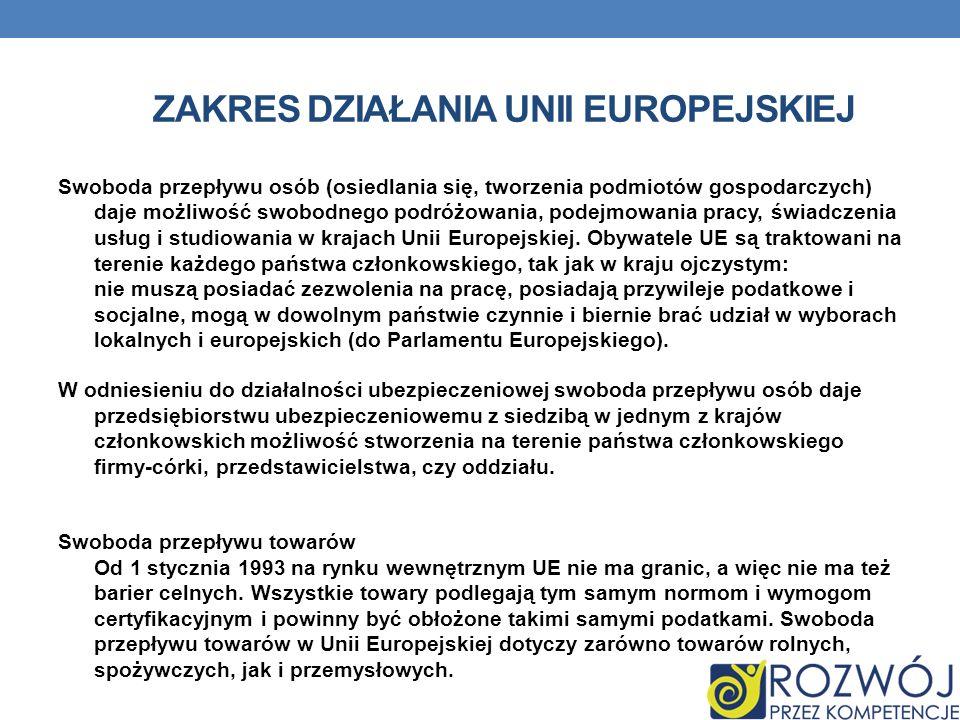 ZAKRES DZIAŁANIA UNII EUROPEJSKIEJ Swoboda przepływu osób (osiedlania się, tworzenia podmiotów gospodarczych) daje możliwość swobodnego podróżowania,