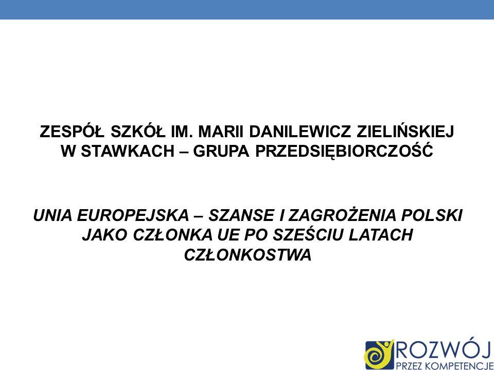 DANE INFORMACYJNE Nazwa szkoły: Publiczne Gimnazjum Stawki ID grupy: 96/49_P_G1 Kompetencja: Przedsiębiorczość Temat projektowy: Unia Europejska - szanse i zagrożenia Polski jako członka UE po sześciu latach członkostwa Semestr/rok szkolny: I/2010