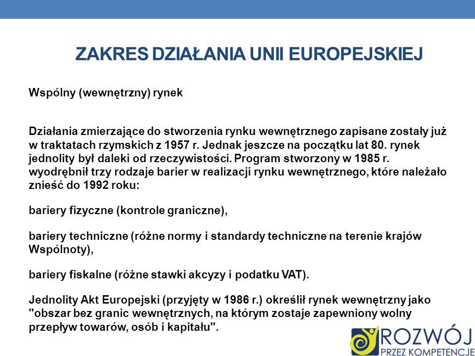 ZAKRES DZIAŁANIA UNII EUROPEJSKIEJ Wspólny (wewnętrzny) rynek Działania zmierzające do stworzenia rynku wewnętrznego zapisane zostały już w traktatach