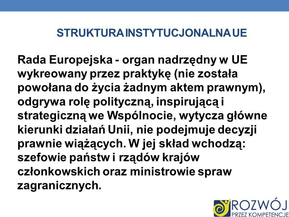 STRUKTURA INSTYTUCJONALNA UE Rada Europejska - organ nadrzędny w UE wykreowany przez praktykę (nie została powołana do życia żadnym aktem prawnym), od