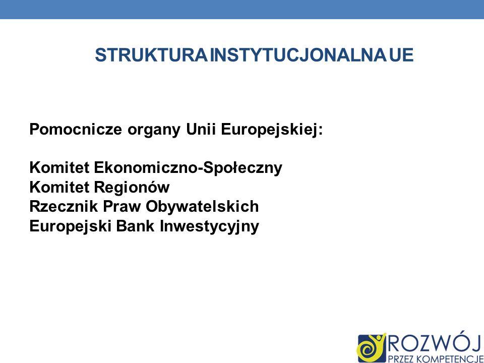 STRUKTURA INSTYTUCJONALNA UE Pomocnicze organy Unii Europejskiej: Komitet Ekonomiczno-Społeczny Komitet Regionów Rzecznik Praw Obywatelskich Europejsk