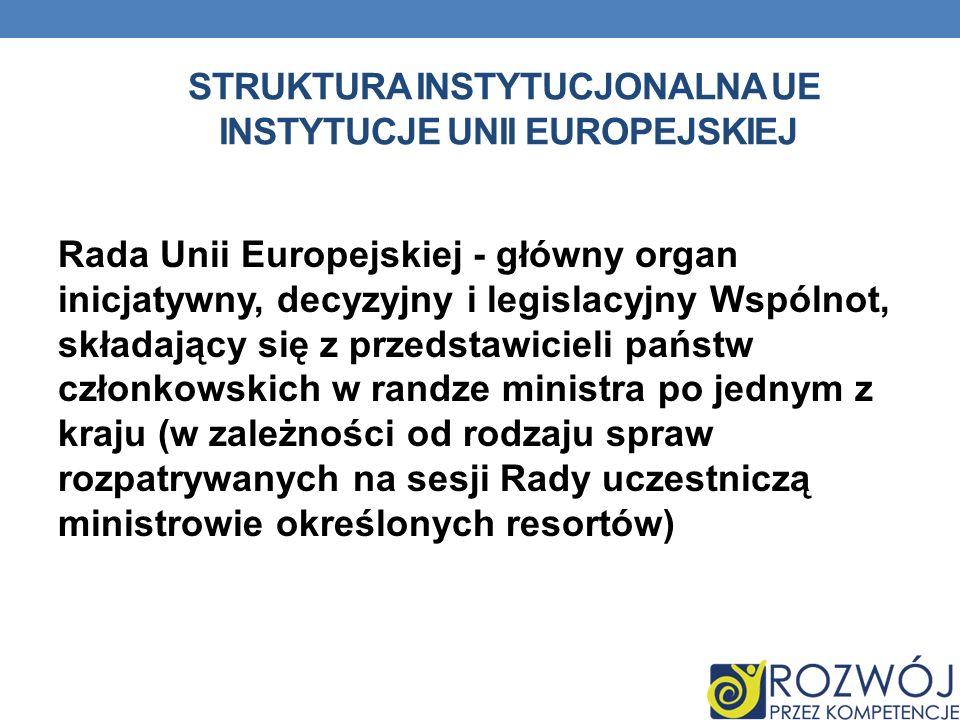 STRUKTURA INSTYTUCJONALNA UE INSTYTUCJE UNII EUROPEJSKIEJ Rada Unii Europejskiej - główny organ inicjatywny, decyzyjny i legislacyjny Wspólnot, składa