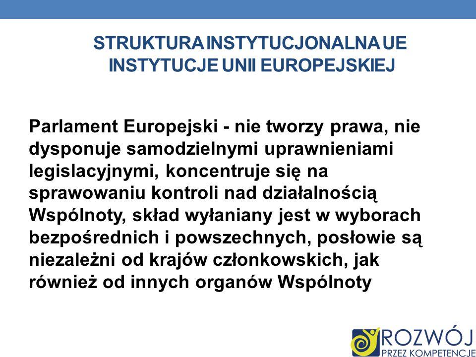 STRUKTURA INSTYTUCJONALNA UE INSTYTUCJE UNII EUROPEJSKIEJ Parlament Europejski - nie tworzy prawa, nie dysponuje samodzielnymi uprawnieniami legislacy