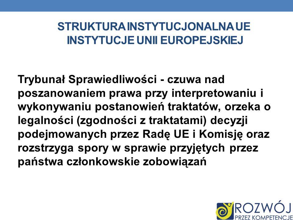STRUKTURA INSTYTUCJONALNA UE INSTYTUCJE UNII EUROPEJSKIEJ Trybunał Sprawiedliwości - czuwa nad poszanowaniem prawa przy interpretowaniu i wykonywaniu
