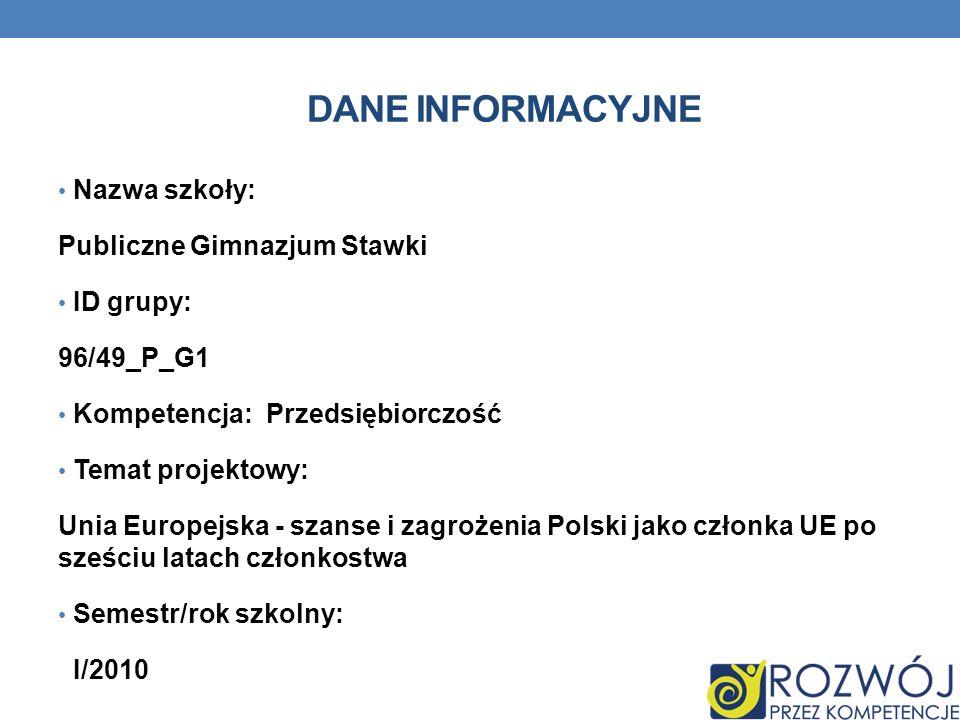 DANE INFORMACYJNE Nazwa szkoły: Publiczne Gimnazjum Stawki ID grupy: 96/49_P_G1 Kompetencja: Przedsiębiorczość Temat projektowy: Unia Europejska - sza