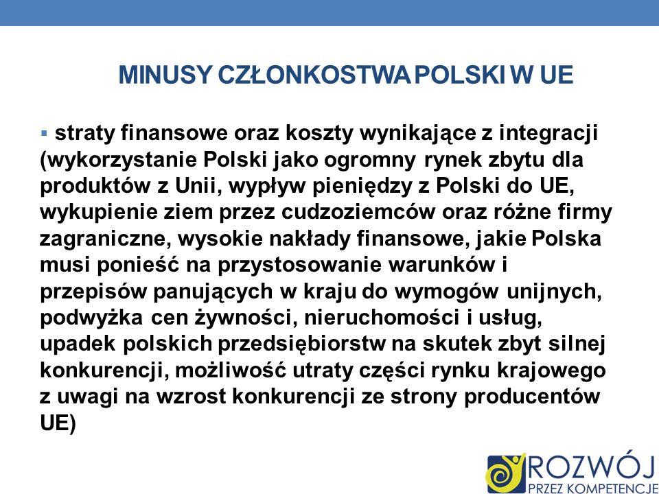 MINUSY CZŁONKOSTWA POLSKI W UE straty finansowe oraz koszty wynikające z integracji (wykorzystanie Polski jako ogromny rynek zbytu dla produktów z Uni