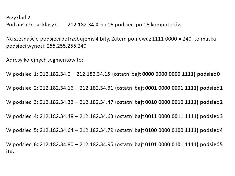 Przykład 2 Podział adresu klasy C 212.182.34.X na 16 podsieci po 16 komputerów.