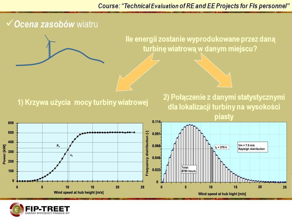 Course: Technical Evaluation of RE and EE Projects for FIs personnel Ile energii zostanie wyprodukowane przez daną turbinę wiatrową w danym miejscu? 1