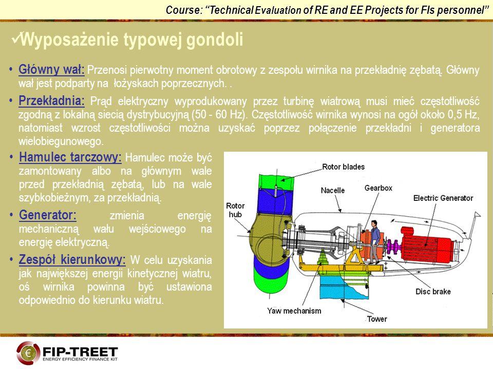 Course: Technical Evaluation of RE and EE Projects for FIs personnel Główny wał: Przenosi pierwotny moment obrotowy z zespołu wirnika na przekładnię z