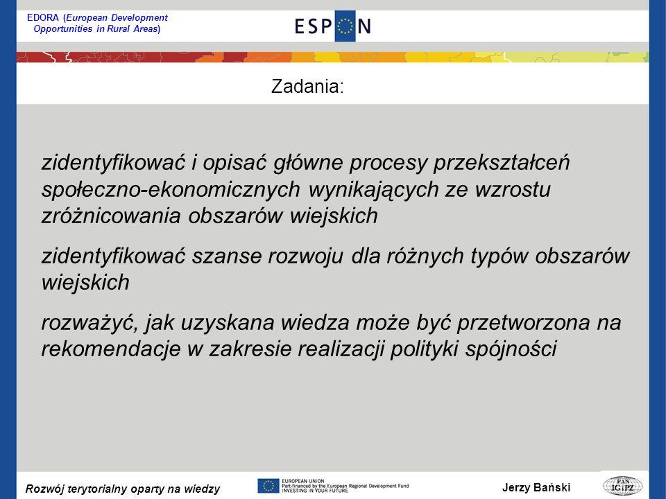 Jerzy Bański Rozwój terytorialny oparty na wiedzy EDORA (European Development Opportunities in Rural Areas) zidentyfikować i opisać główne procesy przekształceń społeczno-ekonomicznych wynikających ze wzrostu zróżnicowania obszarów wiejskich zidentyfikować szanse rozwoju dla różnych typów obszarów wiejskich rozważyć, jak uzyskana wiedza może być przetworzona na rekomendacje w zakresie realizacji polityki spójności Zadania:
