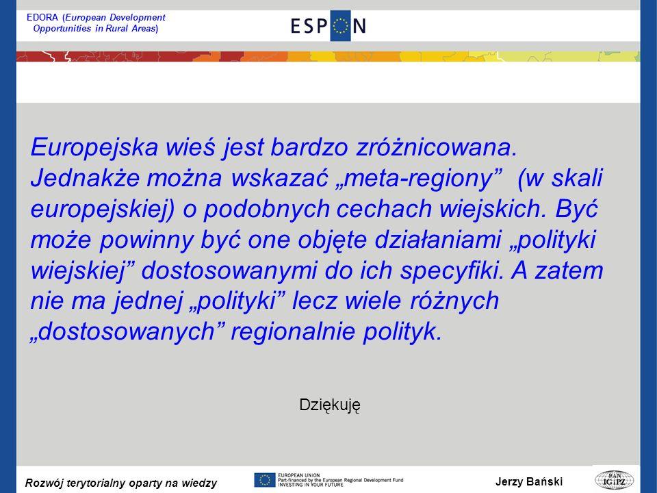 Jerzy Bański Rozwój terytorialny oparty na wiedzy EDORA (European Development Opportunities in Rural Areas) Dziękuję Europejska wieś jest bardzo zróżnicowana.