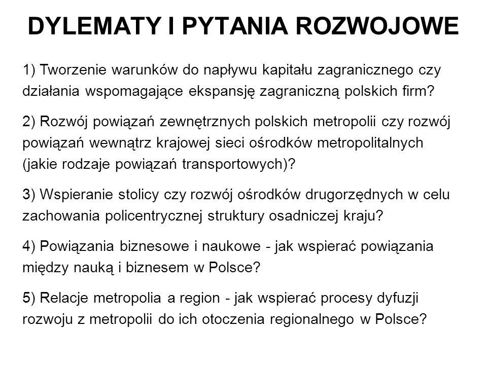 DYLEMATY I PYTANIA ROZWOJOWE 1) Tworzenie warunków do napływu kapitału zagranicznego czy działania wspomagające ekspansję zagraniczną polskich firm? 2