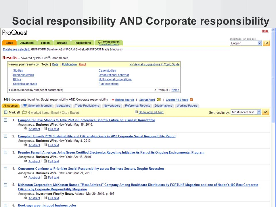 Social responsibility AND Corporate responsibility