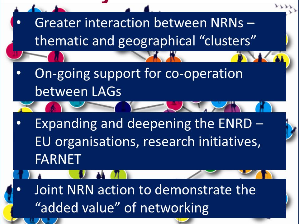 Greater interaction between NRNs – thematic and geographical clusters On-going support for co-operation between LAGs Expanding and deepening the ENRD – EU organisations, research initiatives, FARNET Joint NRN action to demonstrate the added value of networking