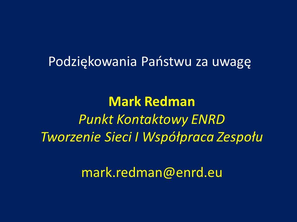 Podziękowania Państwu za uwagę Mark Redman Punkt Kontaktowy ENRD Tworzenie Sieci I Współpraca Zespołu mark.redman@enrd.eu