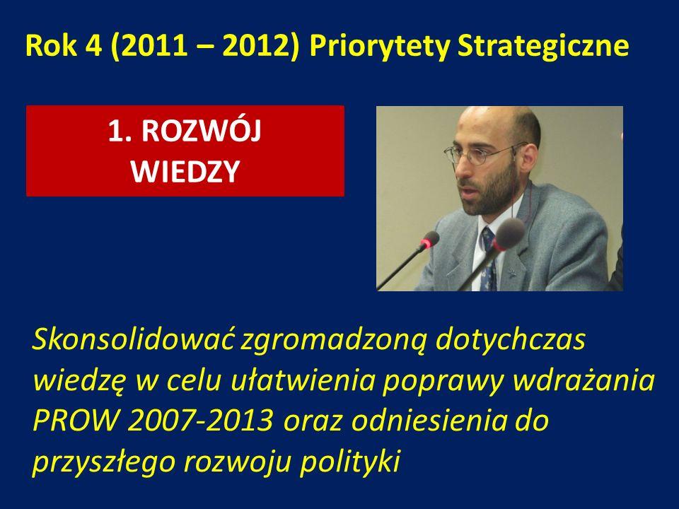1. ROZWÓJ WIEDZY Rok 4 (2011 – 2012) Priorytety Strategiczne Skonsolidować zgromadzoną dotychczas wiedzę w celu ułatwienia poprawy wdrażania PROW 2007