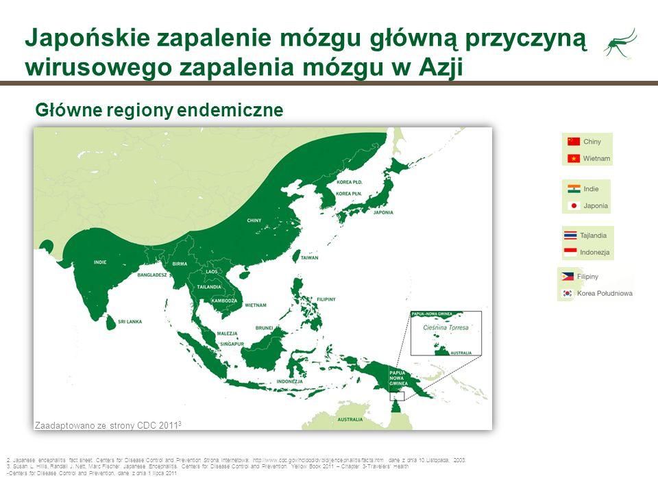 Japońskie zapalenie mózgu główną przyczyną wirusowego zapalenia mózgu w Azji Główne regiony endemiczne Zaadaptowano ze strony CDC 2011 3 2. Japanese e