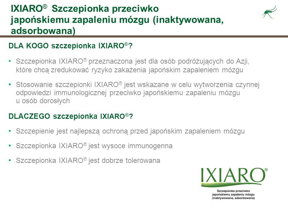 IXIARO ® Szczepionka przeciwko japońskiemu zapaleniu mózgu (inaktywowana, adsorbowana) DLA KOGO szczepionka IXIARO ® ? Szczepionka IXIARO ® przeznaczo