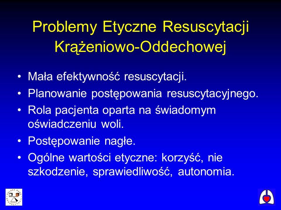 Problemy Etyczne Resuscytacji Krążeniowo-Oddechowej Mała efektywność resuscytacji.