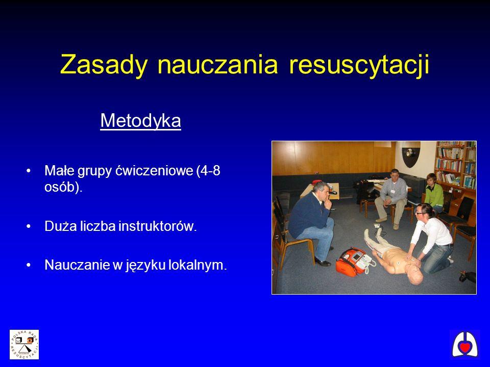 Zasady nauczania resuscytacji Metodyka Małe grupy ćwiczeniowe (4-8 osób). Duża liczba instruktorów. Nauczanie w języku lokalnym.