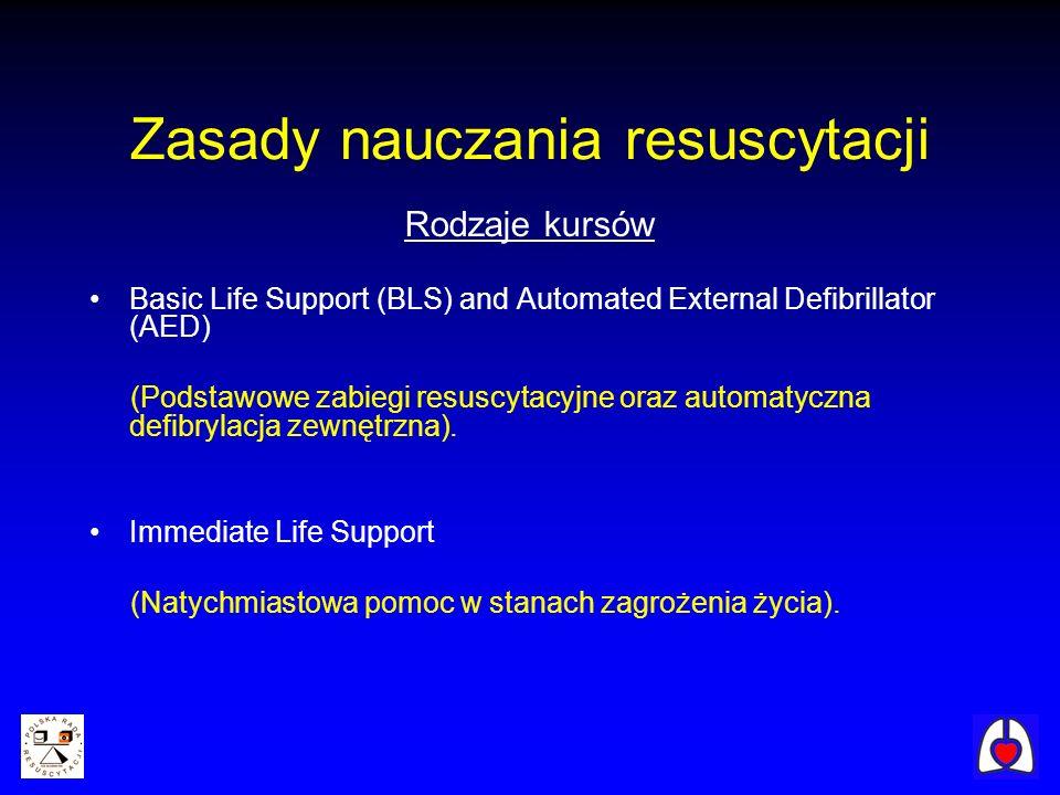 Rodzaje kursów Basic Life Support (BLS) and Automated External Defibrillator (AED) (Podstawowe zabiegi resuscytacyjne oraz automatyczna defibrylacja z
