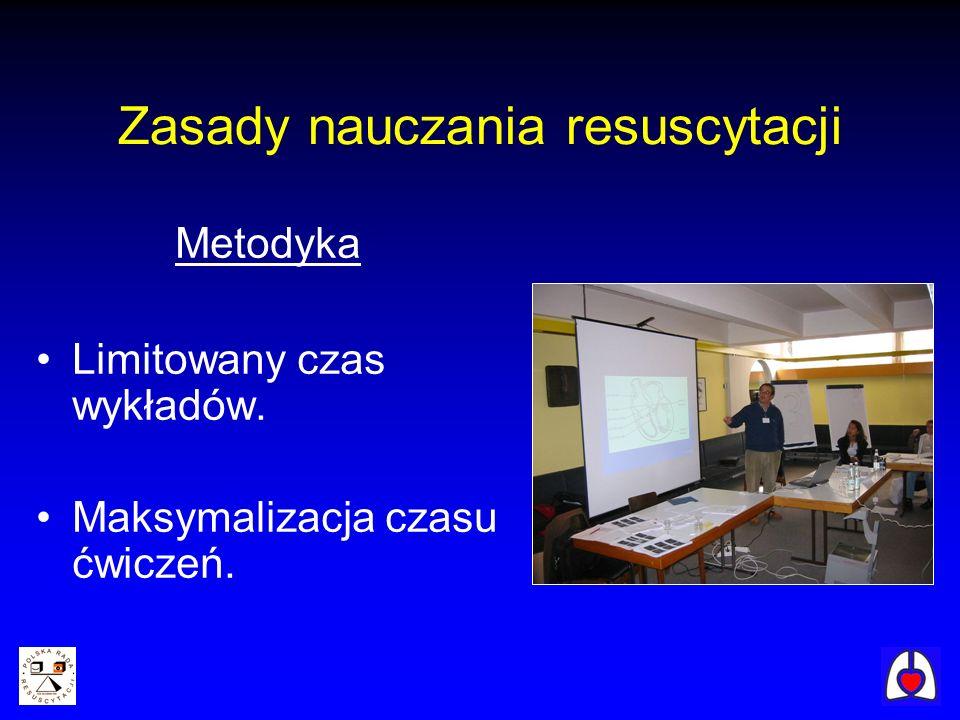 Zasady nauczania resuscytacji Metodyka Limitowany czas wykładów. Maksymalizacja czasu ćwiczeń.