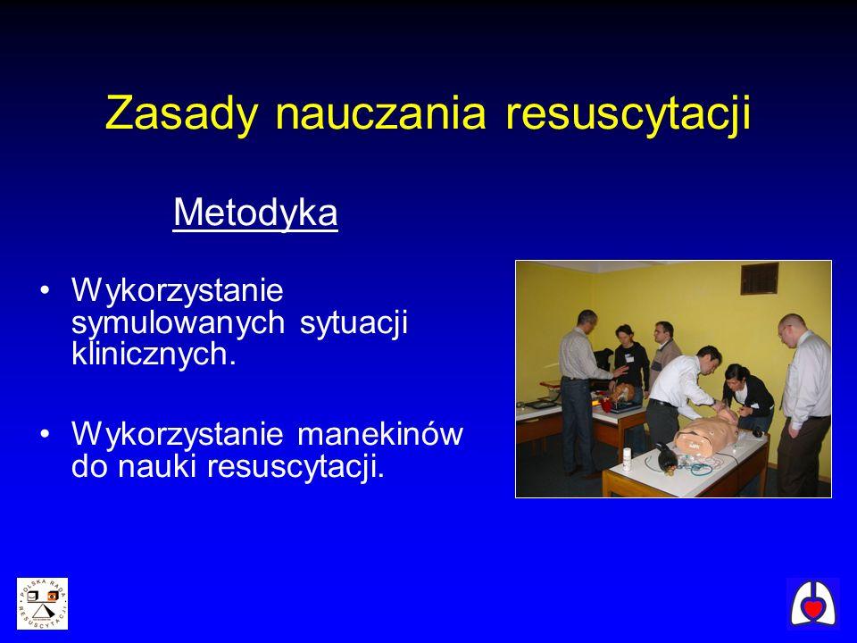 Zasady nauczania resuscytacji Metodyka Wykorzystanie symulowanych sytuacji klinicznych. Wykorzystanie manekinów do nauki resuscytacji.