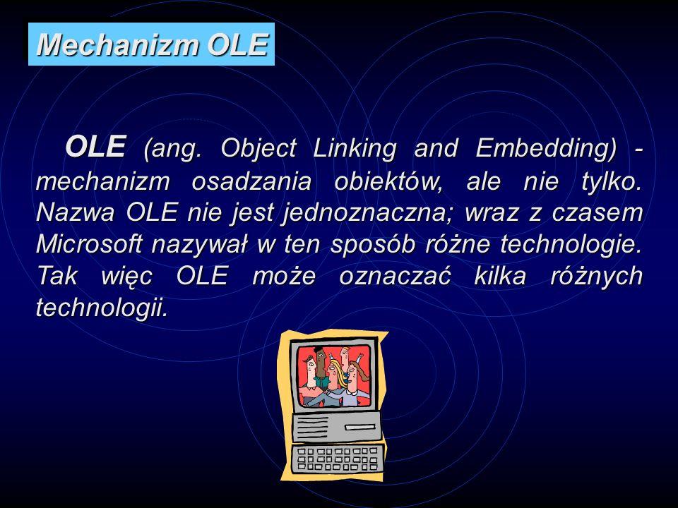 OLE (ang. Object Linking and Embedding) - mechanizm osadzania obiektów, ale nie tylko. Nazwa OLE nie jest jednoznaczna; wraz z czasem Microsoft nazywa