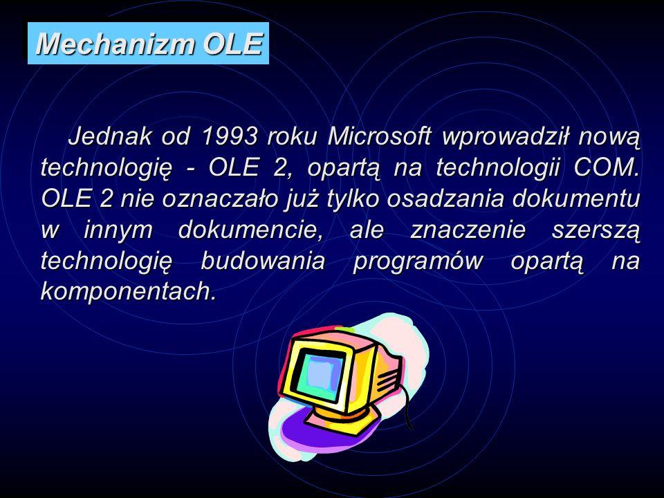 Jednak od 1993 roku Microsoft wprowadził nową technologię - OLE 2, opartą na technologii COM. OLE 2 nie oznaczało już tylko osadzania dokumentu w inny