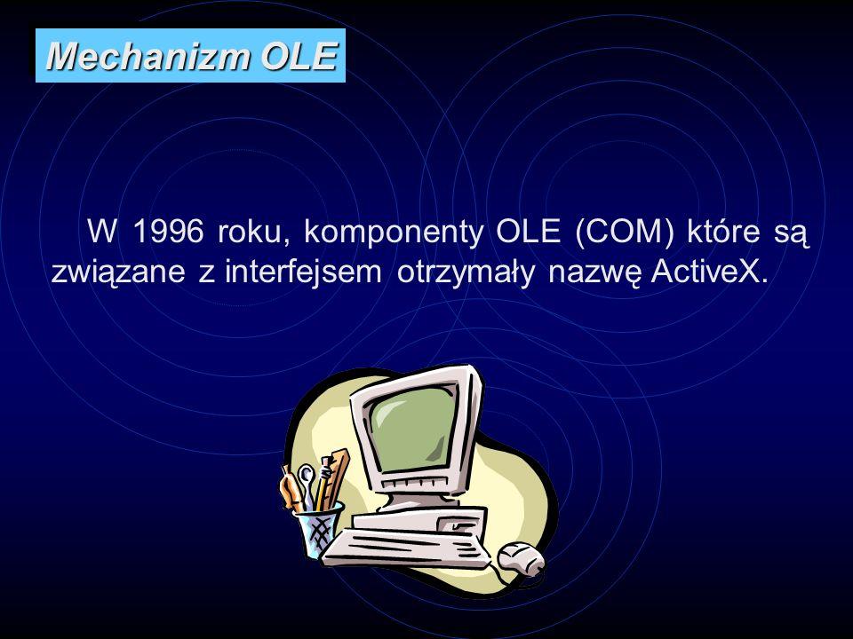 W 1996 roku, komponenty OLE (COM) które są związane z interfejsem otrzymały nazwę ActiveX. Mechanizm OLE
