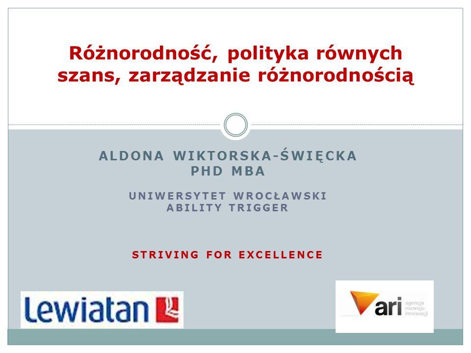 ALDONA WIKTORSKA-ŚWIĘCKA PHD MBA UNIWERSYTET WROCŁAWSKI ABILITY TRIGGER STRIVING FOR EXCELLENCE Różnorodność, polityka równych szans, zarządzanie różnorodnością
