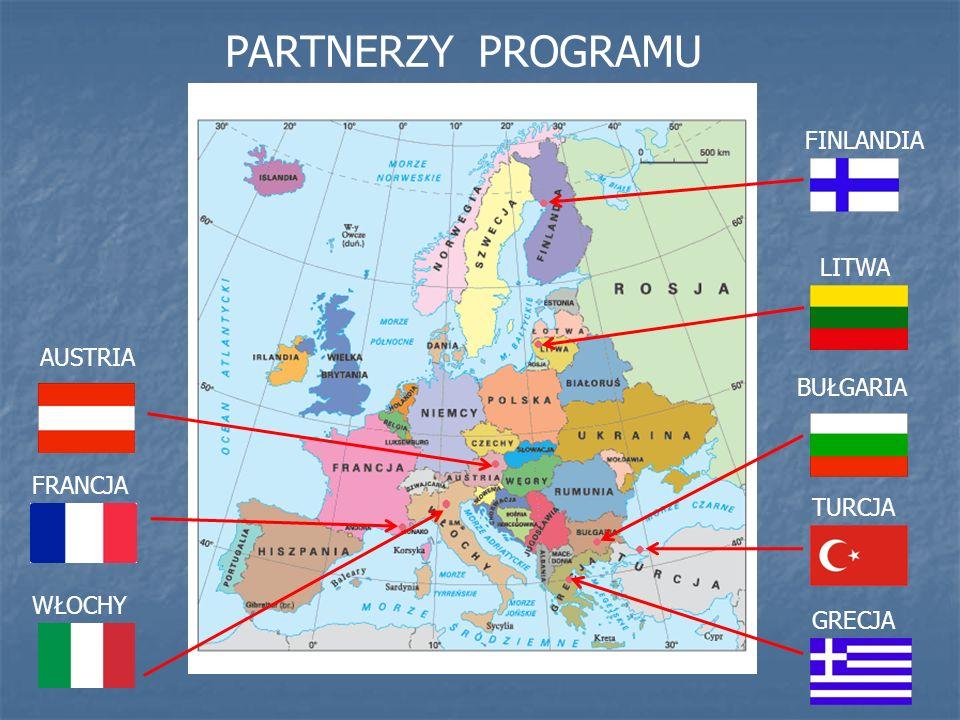 FINLANDIA LITWA GRECJA TURCJA BUŁGARIA AUSTRIA FRANCJA WŁOCHY PARTNERZY PROGRAMU