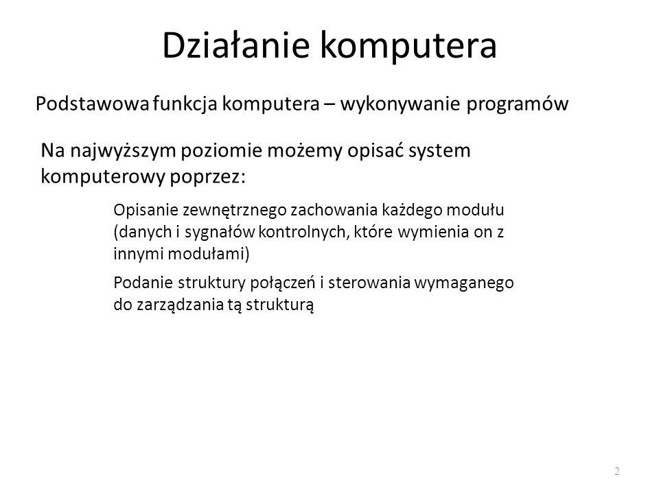 Cykl pracy komputera 13 Wykonywanie programu Program składa się z zestawu rozkazów przechowywanych w pamięci Jednostka centralna realizuje program poprzez wykonywanie rozkazów w nim zawartych Przetwarzanie rozkazów realizowane jest przez procesor w dwóch krokach: Pobranie rozkazu z pamięci Wykonanie rozkazu Cykl rozkazowy (ang.