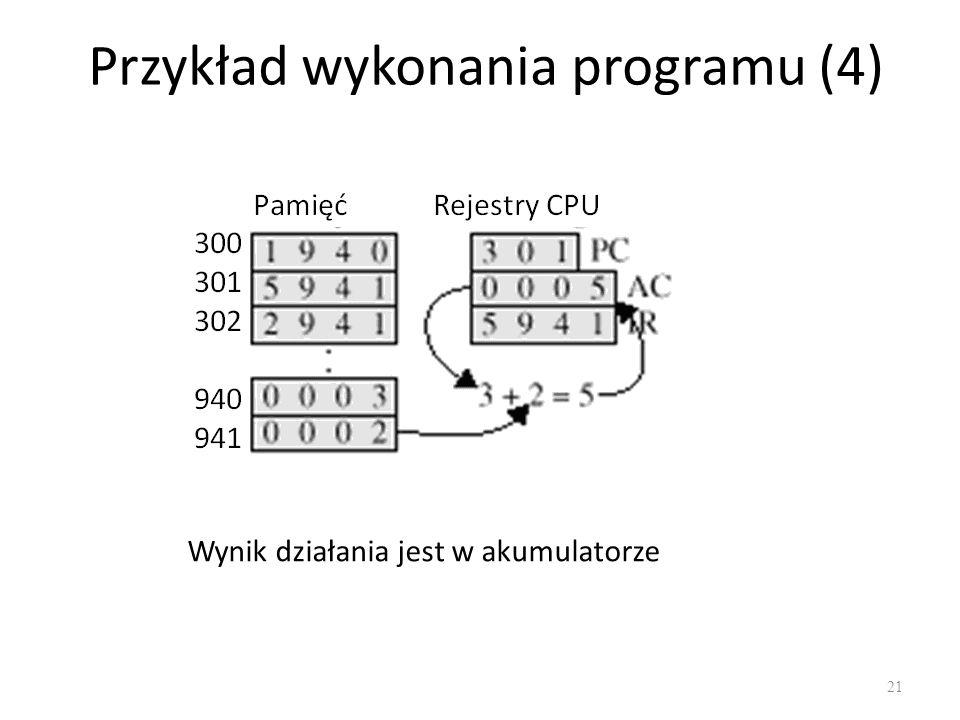 Przykład wykonania programu (4) 21 Wynik działania jest w akumulatorze