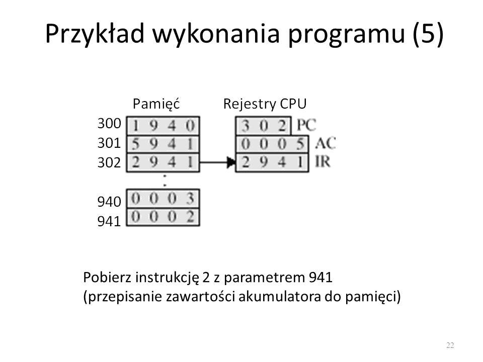 Przykład wykonania programu (5) 22 Pobierz instrukcję 2 z parametrem 941 (przepisanie zawartości akumulatora do pamięci)