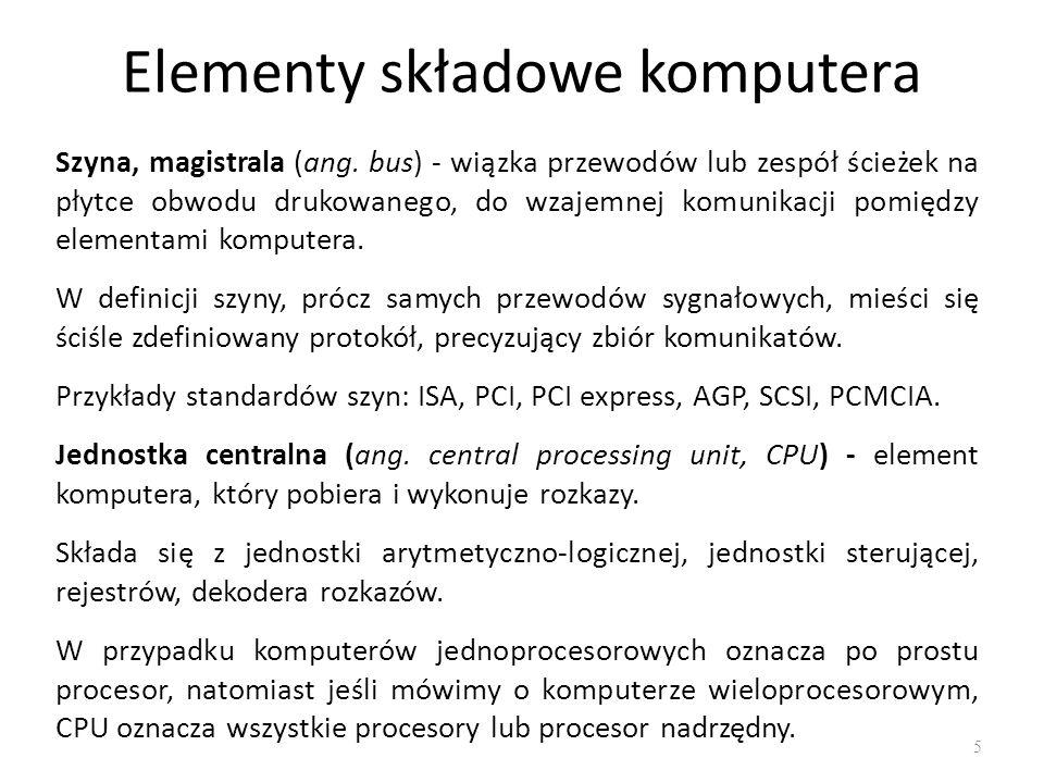 Elementy składowe komputera 6 Układ wejścia-wyjścia (ang.