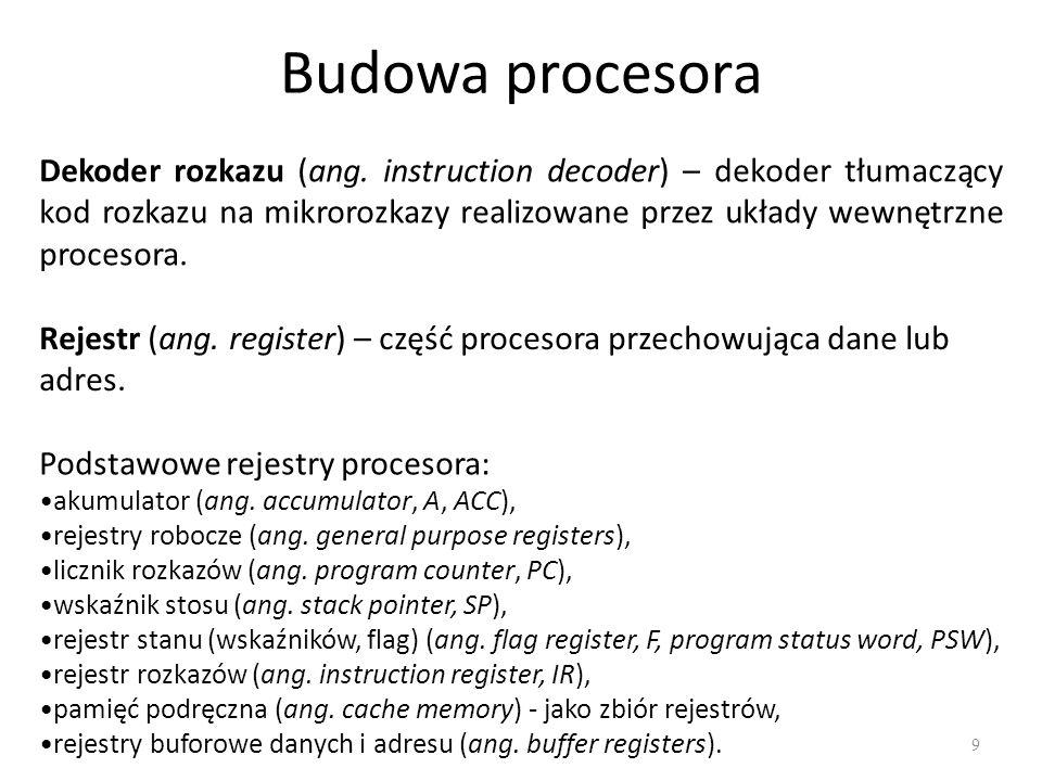 Budowa procesora 9 Rejestr (ang. register) – część procesora przechowująca dane lub adres. Dekoder rozkazu (ang. instruction decoder) – dekoder tłumac