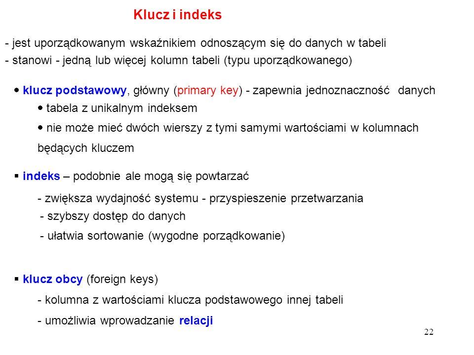 21 typy atrybutów: - autonumerowanie (całkowita długa) - tekstowy (rozmiar) - numeryczny (3 całkowite, 3 rzeczywiste) - format, miejsca dziesiętne - d