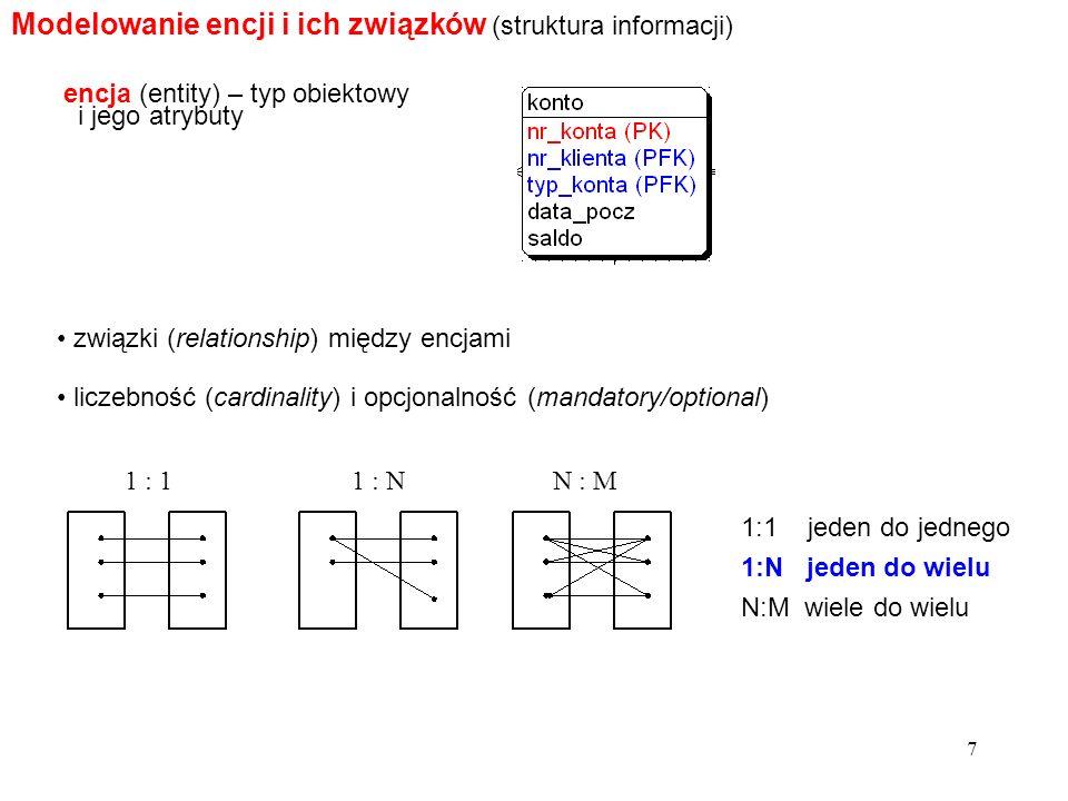 7 Modelowanie encji i ich związków (struktura informacji) encja (entity) – typ obiektowy i jego atrybuty związki (relationship) między encjami liczebność (cardinality) i opcjonalność (mandatory/optional) 1:1 jeden do jednego 1:N jeden do wielu N:M wiele do wielu 1 : 11 : NN : M