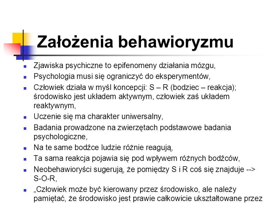 Założenia behawioryzmu Zjawiska psychiczne to epifenomeny działania mózgu, Psychologia musi się ograniczyć do eksperymentów, Człowiek działa w myśl ko