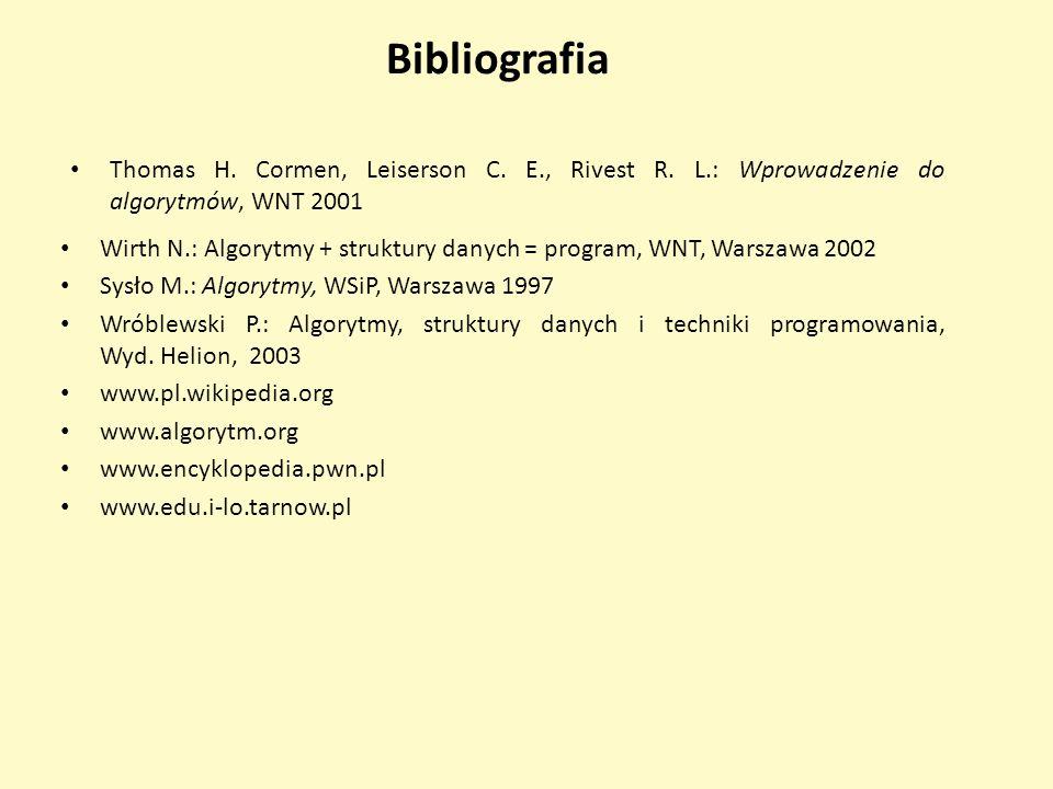 Bibliografia Thomas H. Cormen, Leiserson C. E., Rivest R. L.: Wprowadzenie do algorytmów, WNT 2001 Wirth N.: Algorytmy + struktury danych = program, W
