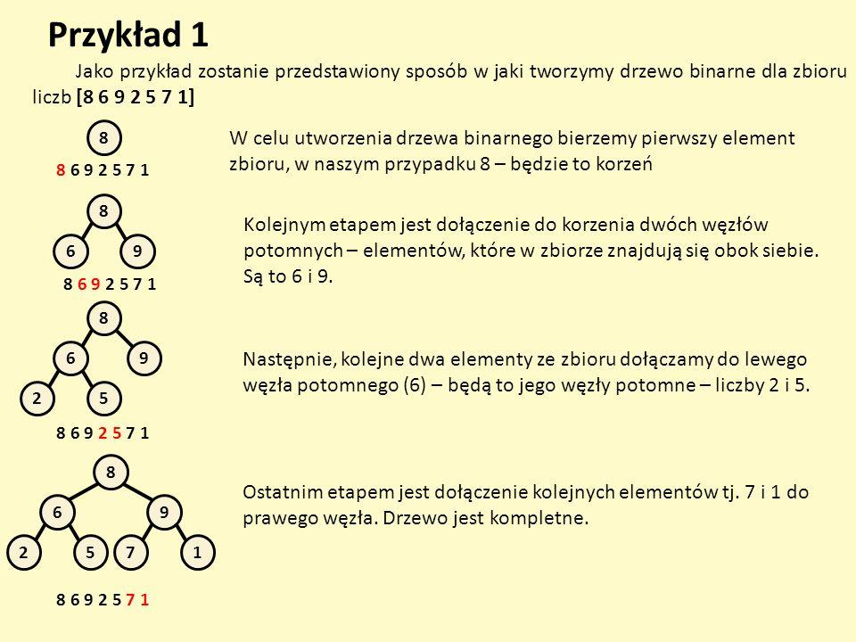 Przykład 1 Jako przykład zostanie przedstawiony sposób w jaki tworzymy drzewo binarne dla zbioru liczb [8 6 9 2 5 7 1] 8 8 6 9 2 5 7 1 W celu utworzen