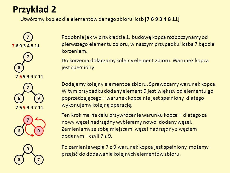 Przykład 2 Utwórzmy kopiec dla elementów danego zbioru liczb [7 6 9 3 4 8 11] 7 7 6 9 3 4 8 11 Podobnie jak w przykładzie 1, budowę kopca rozpoczynamy