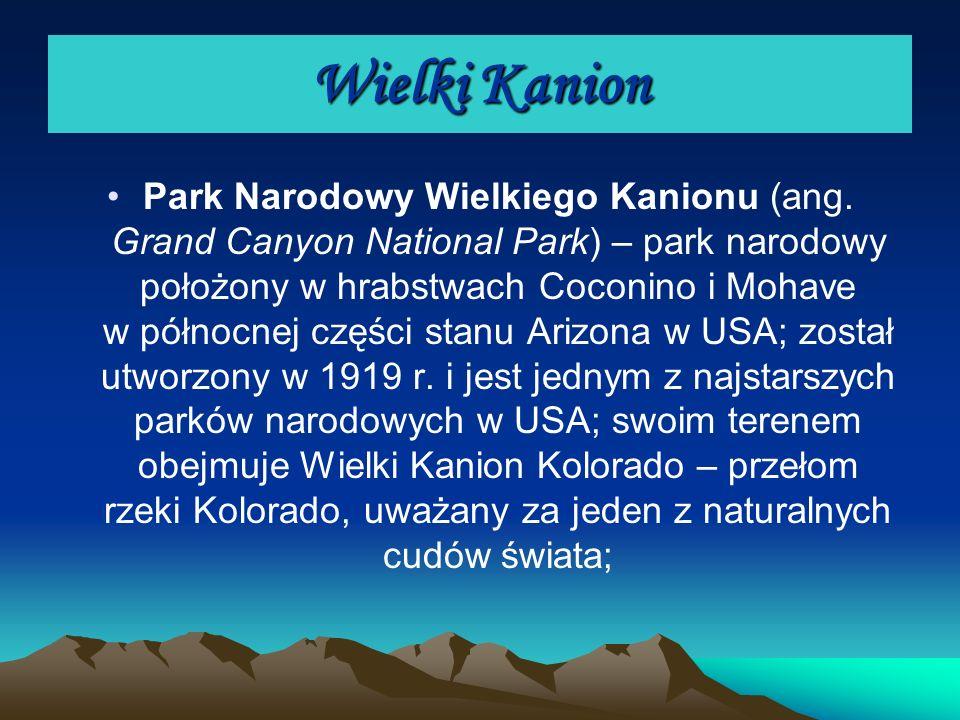 Wielki Kanion Park Narodowy Wielkiego Kanionu (ang. Grand Canyon National Park) – park narodowy położony w hrabstwach Coconino i Mohave w północnej cz