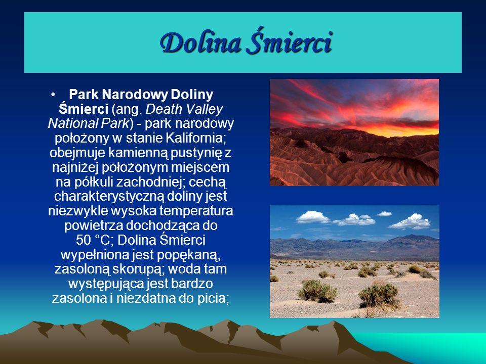 Dolina Śmierci Park Narodowy Doliny Śmierci (ang. Death Valley National Park) - park narodowy położony w stanie Kalifornia; obejmuje kamienną pustynię