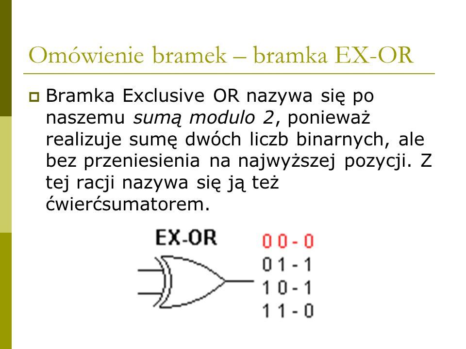 Omówienie bramek – bramka EX-OR Bramka Exclusive OR nazywa się po naszemu sumą modulo 2, ponieważ realizuje sumę dwóch liczb binarnych, ale bez przeni