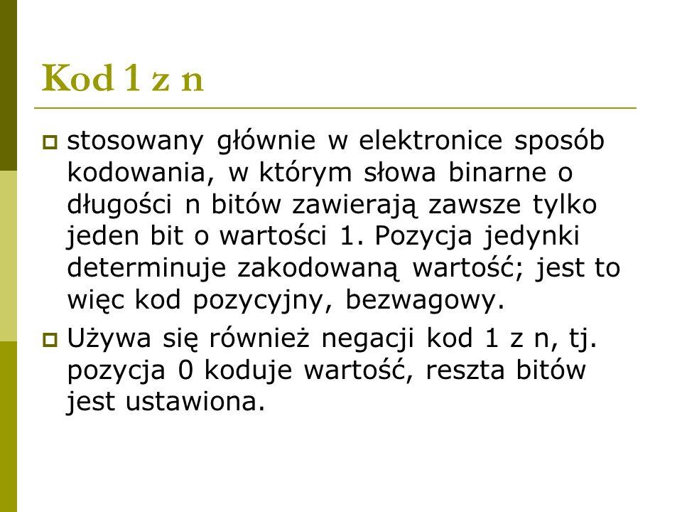 Kod 1 z n stosowany głównie w elektronice sposób kodowania, w którym słowa binarne o długości n bitów zawierają zawsze tylko jeden bit o wartości 1. P
