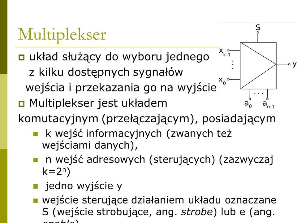 Multiplekser układ służący do wyboru jednego z kilku dostępnych sygnałów wejścia i przekazania go na wyjście Multiplekser jest układem komutacyjnym (p