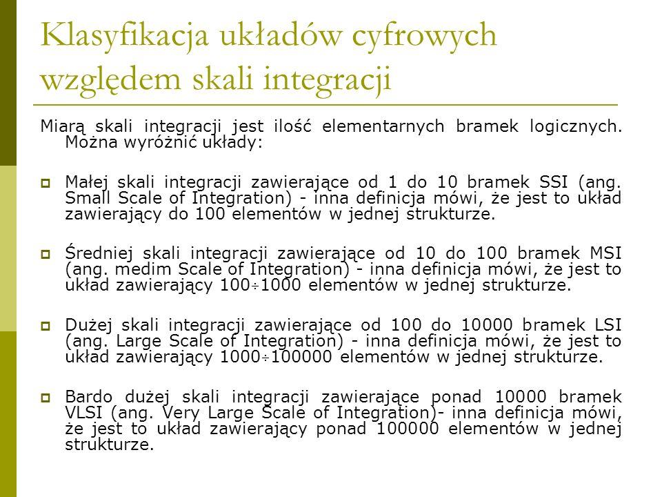Klasyfikacja układów cyfrowych względem skali integracji Miarą skali integracji jest ilość elementarnych bramek logicznych. Można wyróżnić układy: Mał